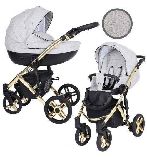 Kunert Mila Premium Class bērnu rati  2 in 1  Pelēkas līnijas ( rāmis zelta vai sudraba krāsā)