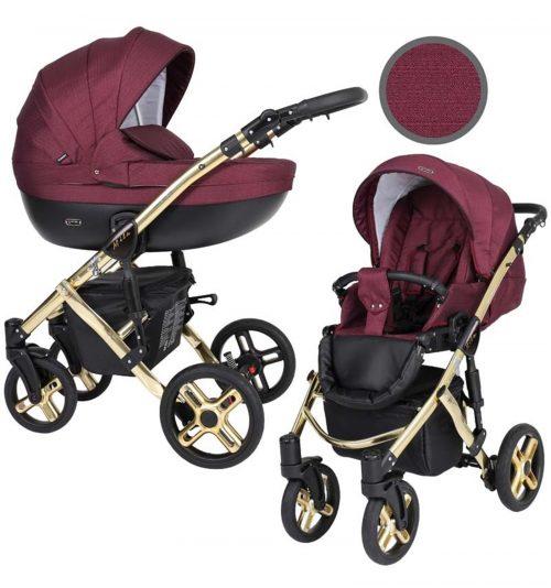 Kunert Mila Premium Class bērnu rati  2 in 1  bordo ( rāmis zelta vai sudraba krāsā)
