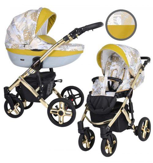 Kunert Mila Premium Class bērnu rati  2 in 1  dzeltenie džungļi ( rāmis zelta vai sudraba krāsā)