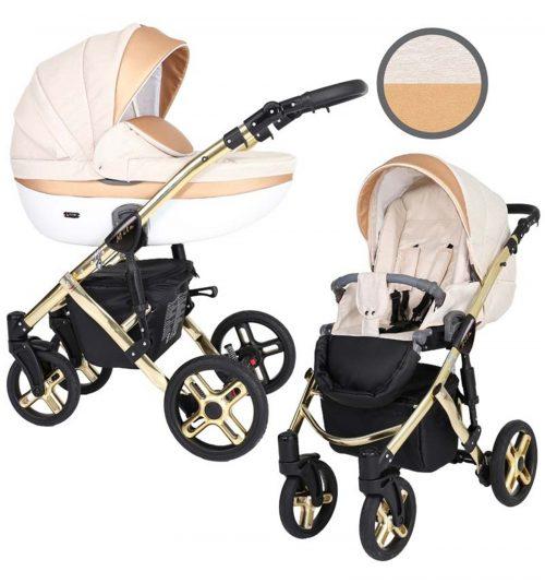 Kunert Mila Premium Class bērnu rati  2 in 1  krēma + zelta ( rāmis zelta vai sudraba krāsā)