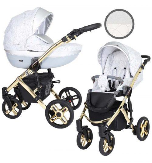 Kunert Mila Premium Class bērnu rati  2 in 1  ledus sudrabs  ( rāmis zelta vai sudraba krāsā)