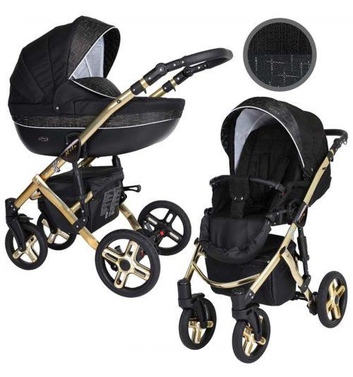 Kunert Mila Premium Class bērnu rati  2 in 1  melns ar zeltītu rakstu ( rāmis zelta vai sudraba krāsā)