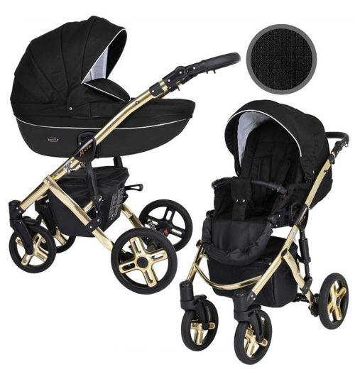 Kunert Mila Premium Class bērnu rati  2 in 1  melns ( rāmis zelta vai sudraba krāsā)