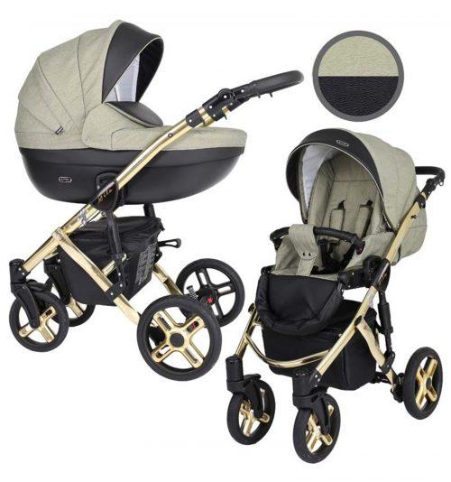 Kunert Mila Premium Class bērnu rati  2 in 1  olīva + melns ( rāmis zelta vai sudraba krāsā)