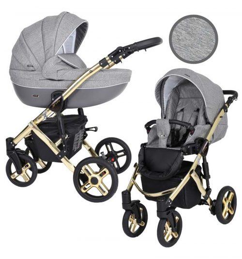 Kunert Mila Premium Class bērnu rati  2 in 1  pelēkais džins ( rāmis zelta vai sudraba krāsā)