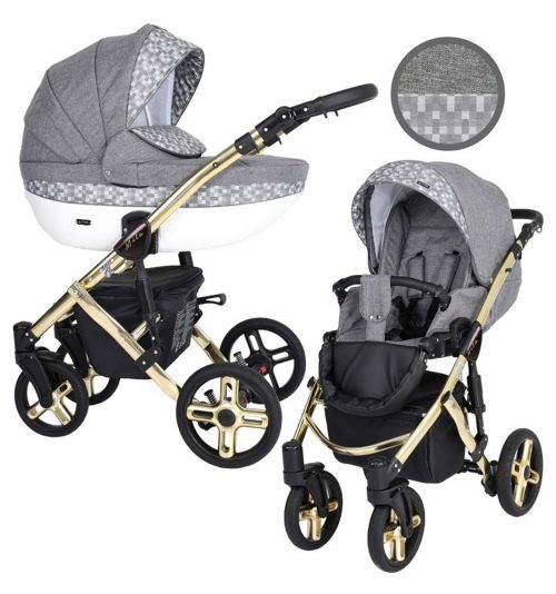 Kunert Mila Premium Class bērnu rati  2 in 1  pelēks +rūtiņa ( rāmis zelta vai sudraba krāsā)