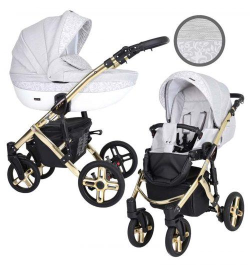 Kunert Mila Premium Class bērnu rati  2 in 1  pelēks+raksts ( rāmis zelta vai sudraba krāsā)