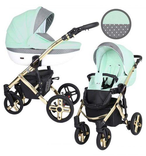 Kunert Mila Premium Class bērnu rati  2 in 1  piparmētra+pumpiņas ( rāmis zelta vai sudraba krāsā)