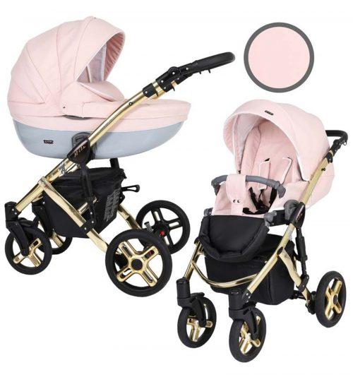 Kunert Mila Premium Class bērnu rati  2 in 1  rozā pūderis ( rāmis zelta vai sudraba krāsā)