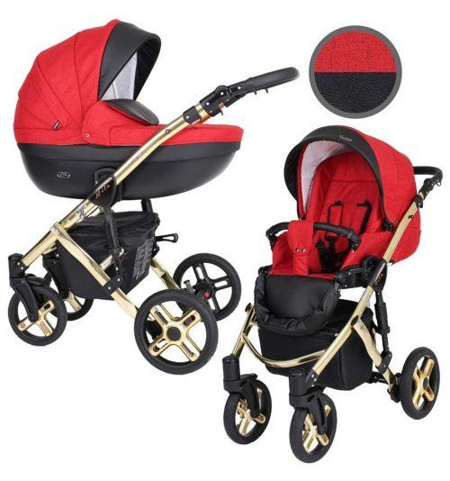 Kunert Mila Premium Class bērnu rati  2 in 1  sarkans + melns ( rāmis zelta vai sudraba krāsā)