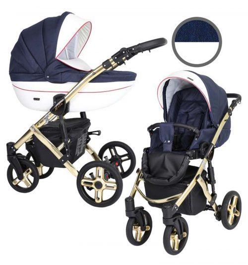 Kunert Mila Premium Class bērnu rati  2 in 1  tumši zils ( rāmis zelta vai sudraba krāsā)