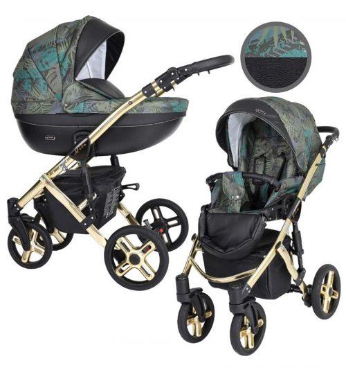 Kunert Mila Premium Class bērnu rati  2 in 1  zaļie džungļi ( rāmis zelta vai sudraba krāsā)