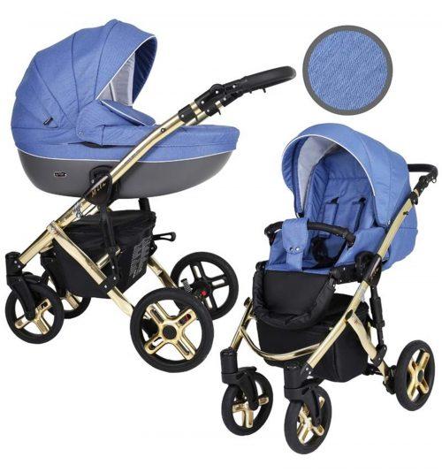 Kunert Mila Premium Class bērnu rati  2 in 1  zils( rāmis zelta vai sudraba krāsā)