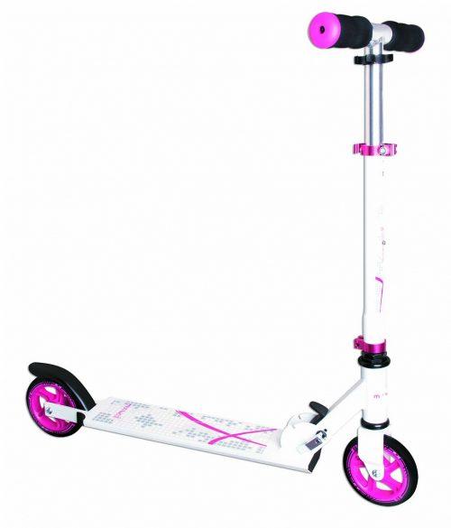Muuwmi Aluminium Scooter skrejritenis 125 mm, balts/rozā